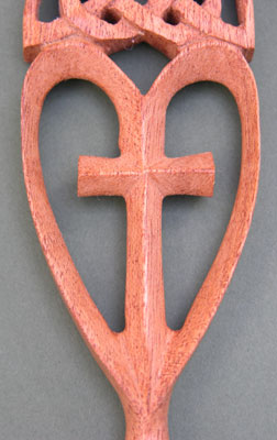 Close-up of the cross set within the heart