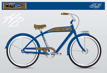 The classic deep blue beach cruiser by Felt bicycles.