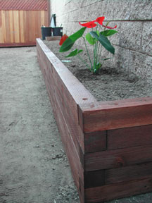 Planter retaining wall.